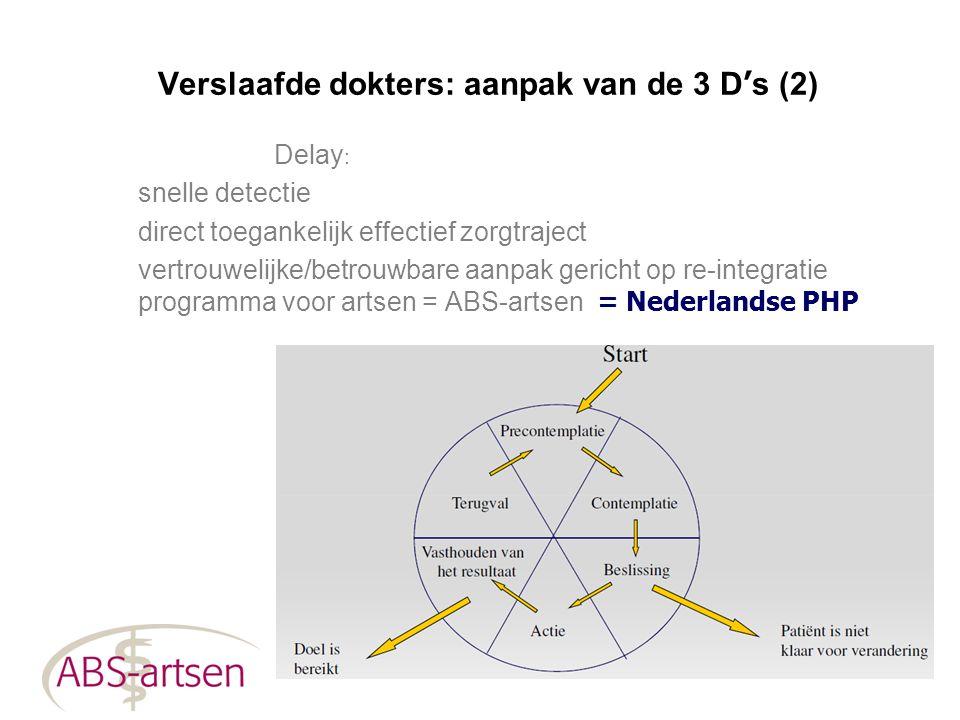 Verslaafde dokters: aanpak van de 3 D ' s (2) Delay : snelle detectie direct toegankelijk effectief zorgtraject vertrouwelijke/betrouwbare aanpak geri