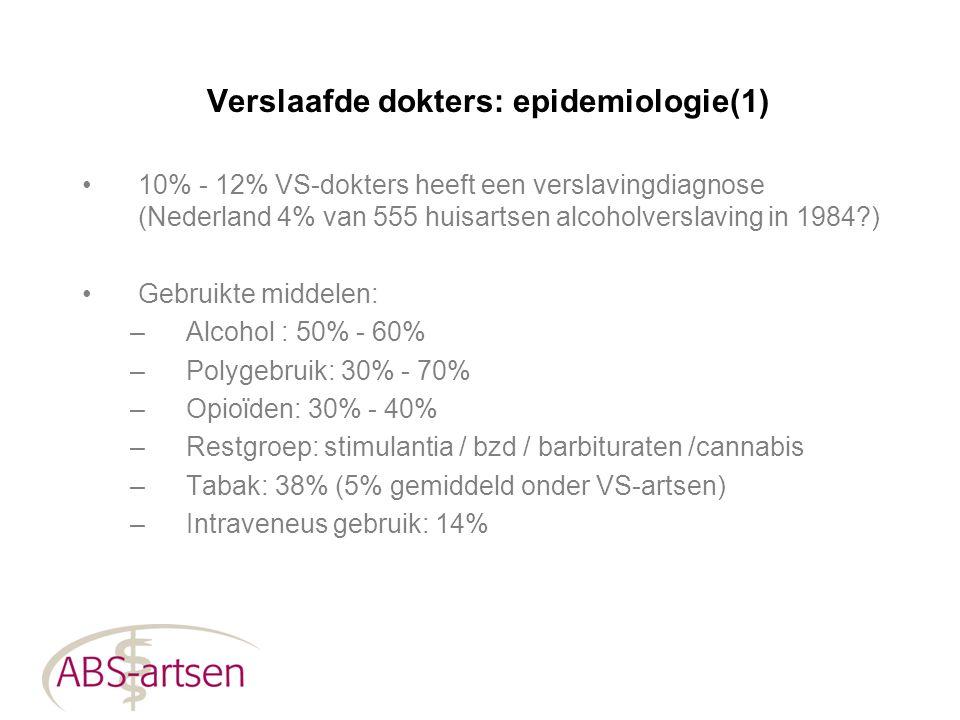 Verslaafde dokters: epidemiologie(1) 10% - 12% VS-dokters heeft een verslavingdiagnose (Nederland 4% van 555 huisartsen alcoholverslaving in 1984?) Ge