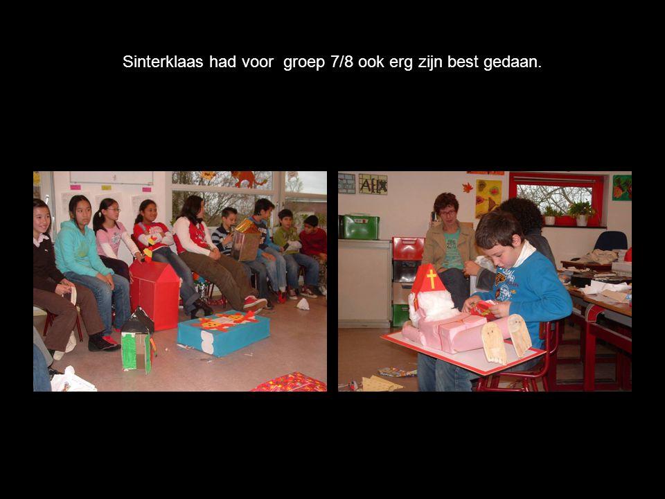 Sinterklaas had voor groep 7/8 ook erg zijn best gedaan.