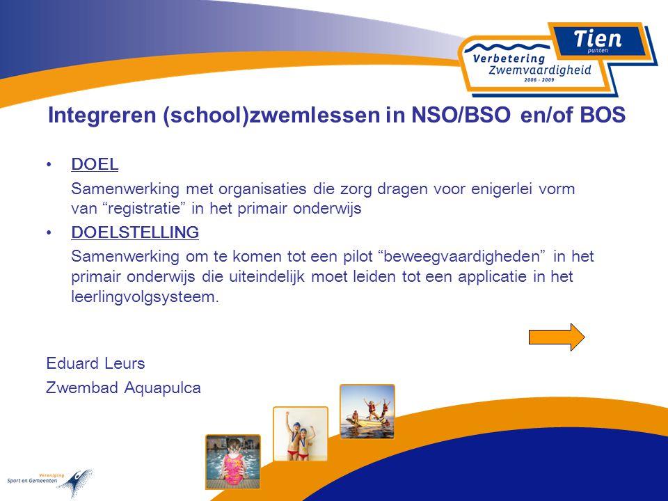 """Integreren (school)zwemlessen in NSO/BSO en/of BOS DOEL Samenwerking met organisaties die zorg dragen voor enigerlei vorm van """"registratie"""" in het pri"""