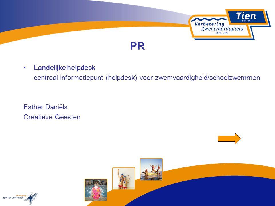 PR Landelijke helpdesk centraal informatiepunt (helpdesk) voor zwemvaardigheid/schoolzwemmen Esther Daniëls Creatieve Geesten