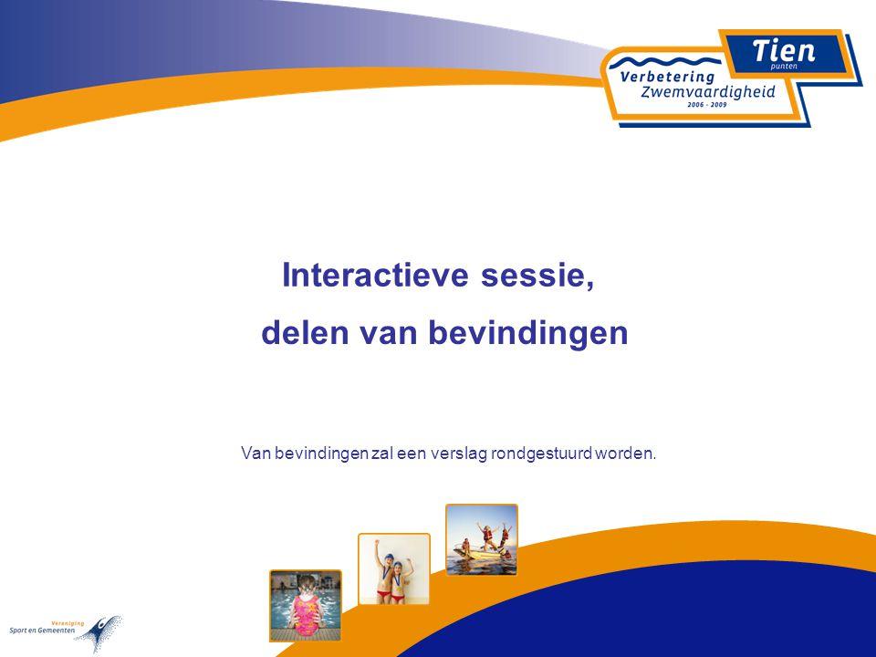 Interactieve sessie, delen van bevindingen Van bevindingen zal een verslag rondgestuurd worden.