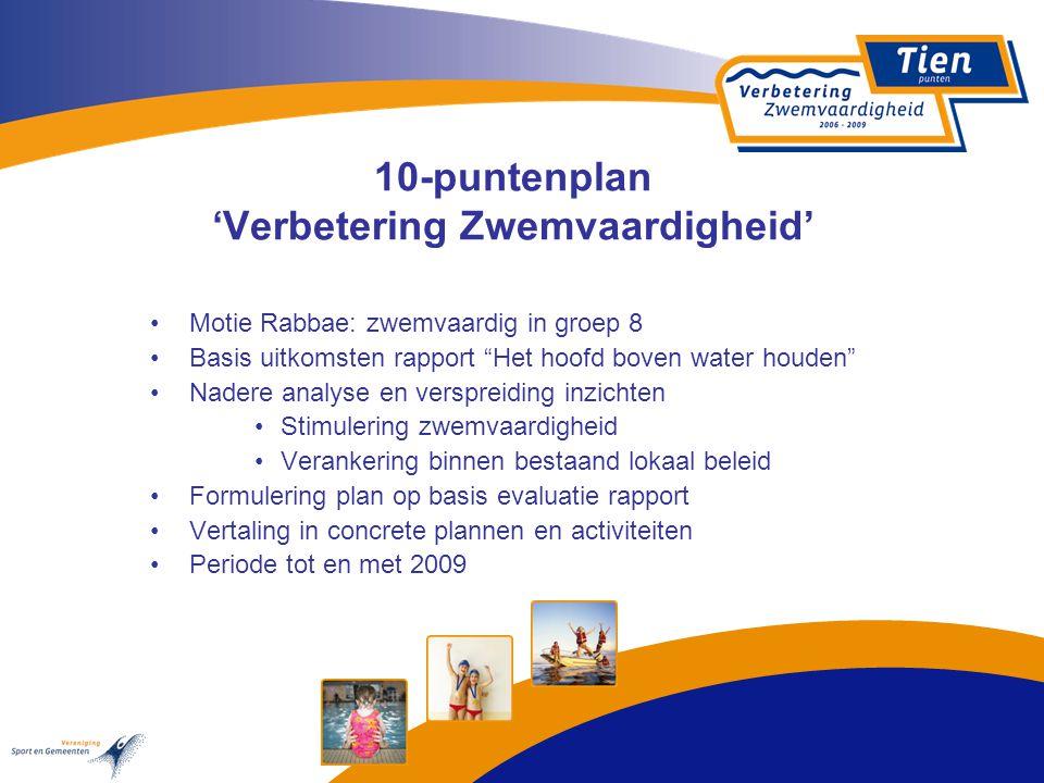"10-puntenplan 'Verbetering Zwemvaardigheid' Motie Rabbae: zwemvaardig in groep 8 Basis uitkomsten rapport ""Het hoofd boven water houden"" Nadere analys"