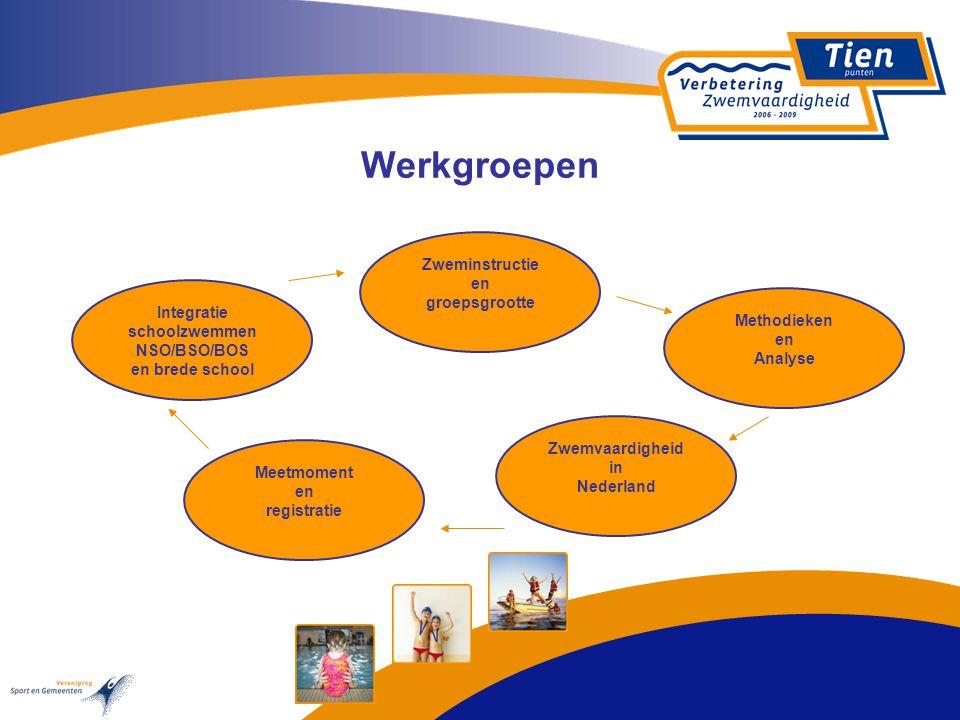 Werkgroepen Zweminstructie en groepsgrootte Methodieken en Analyse Zwemvaardigheid in Nederland Meetmoment en registratie Integratie schoolzwemmen NSO