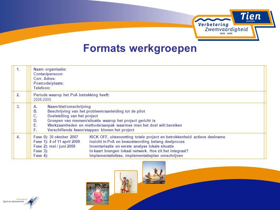 Formats werkgroepen 1.Naam organisatie: Contactpersoon: Corr. Adres: Postcode/plaats: Telefoon: 2.Periode waarop het PvA betrekking heeft: 2008-2009.