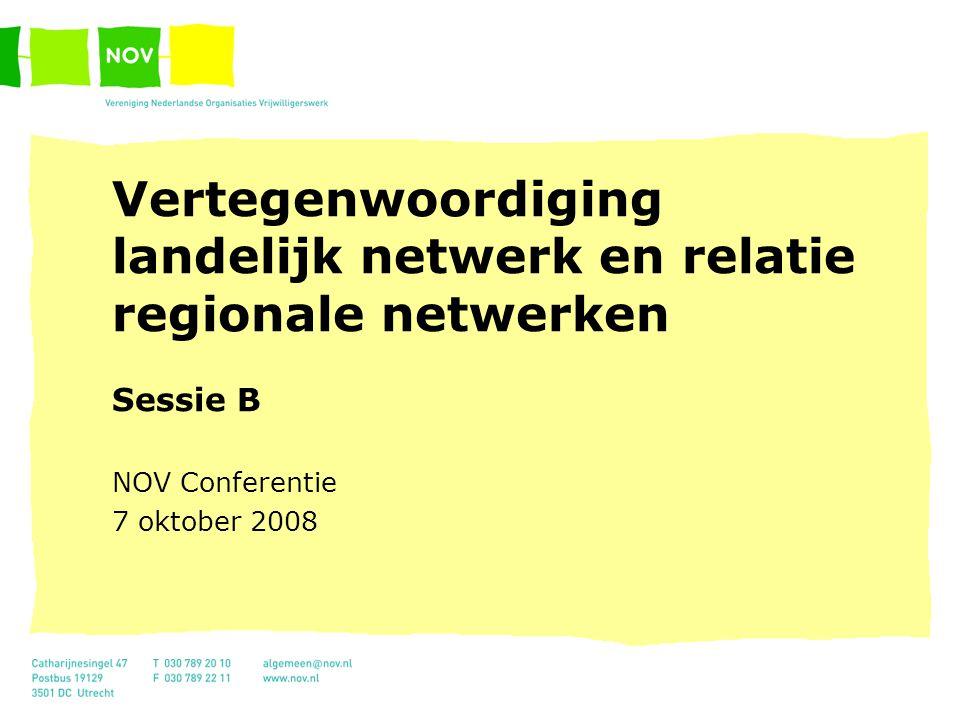 Vertegenwoordiging landelijk netwerk en relatie regionale netwerken Sessie B NOV Conferentie 7 oktober 2008