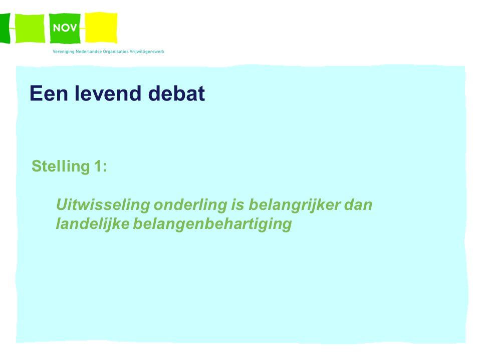 Een levend debat Stelling 1: Uitwisseling onderling is belangrijker dan landelijke belangenbehartiging
