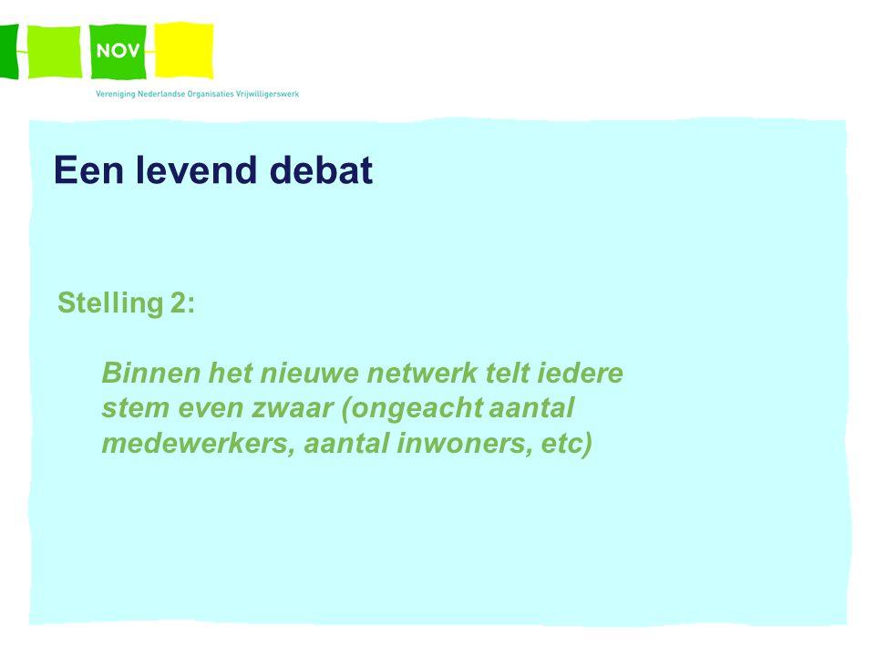 Een levend debat Stelling 2: Binnen het nieuwe netwerk telt iedere stem even zwaar (ongeacht aantal medewerkers, aantal inwoners, etc)