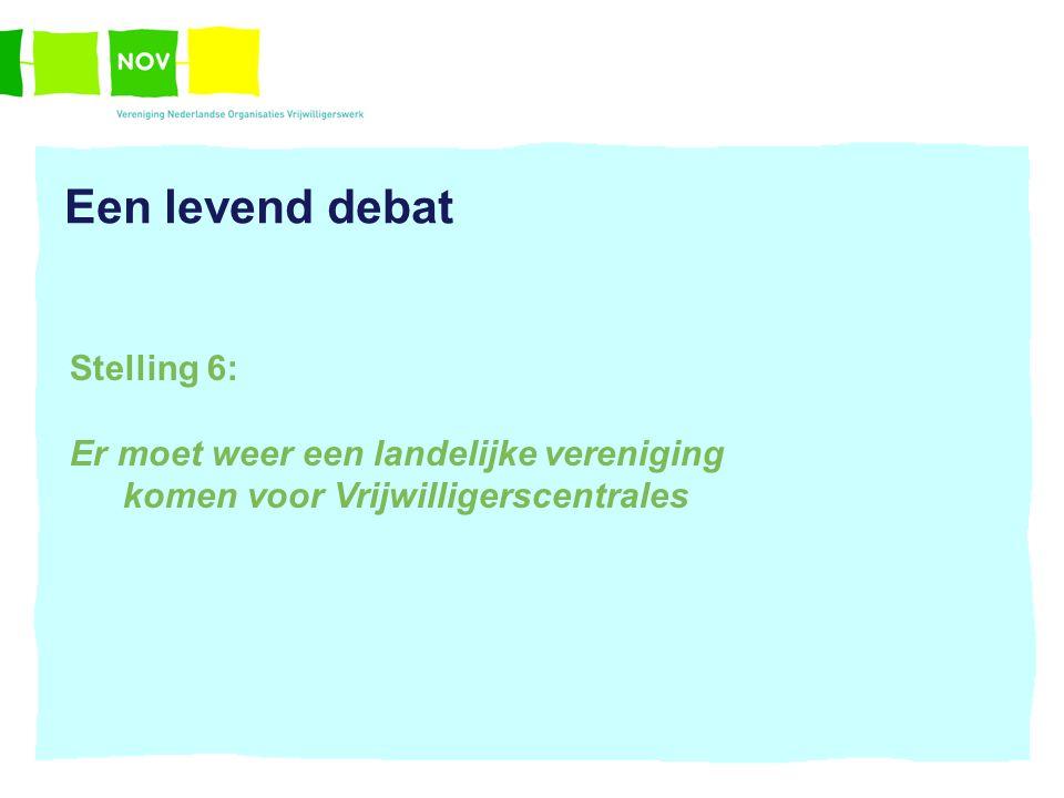 Een levend debat Stelling 6: Er moet weer een landelijke vereniging komen voor Vrijwilligerscentrales