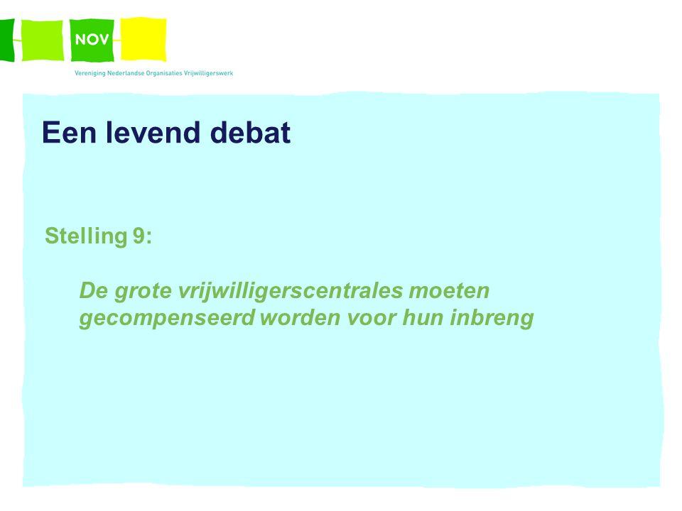 Een levend debat Stelling 9: De grote vrijwilligerscentrales moeten gecompenseerd worden voor hun inbreng