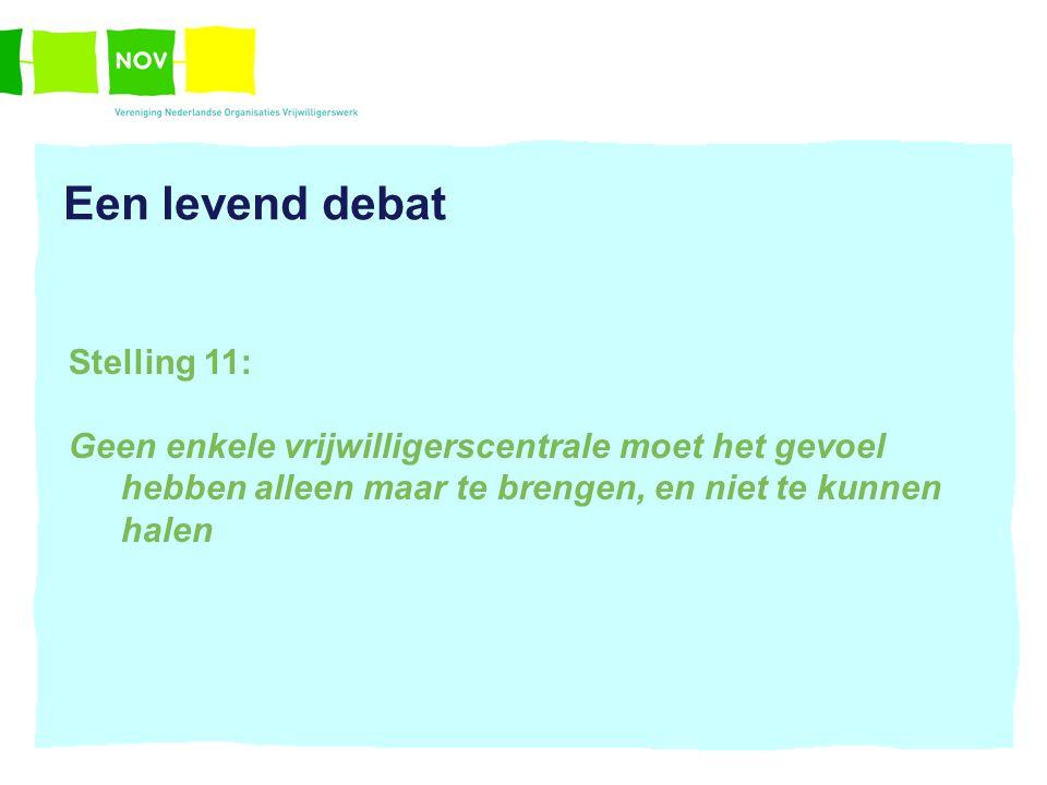 Een levend debat Stelling 11: Geen enkele vrijwilligerscentrale moet het gevoel hebben alleen maar te brengen, en niet te kunnen halen