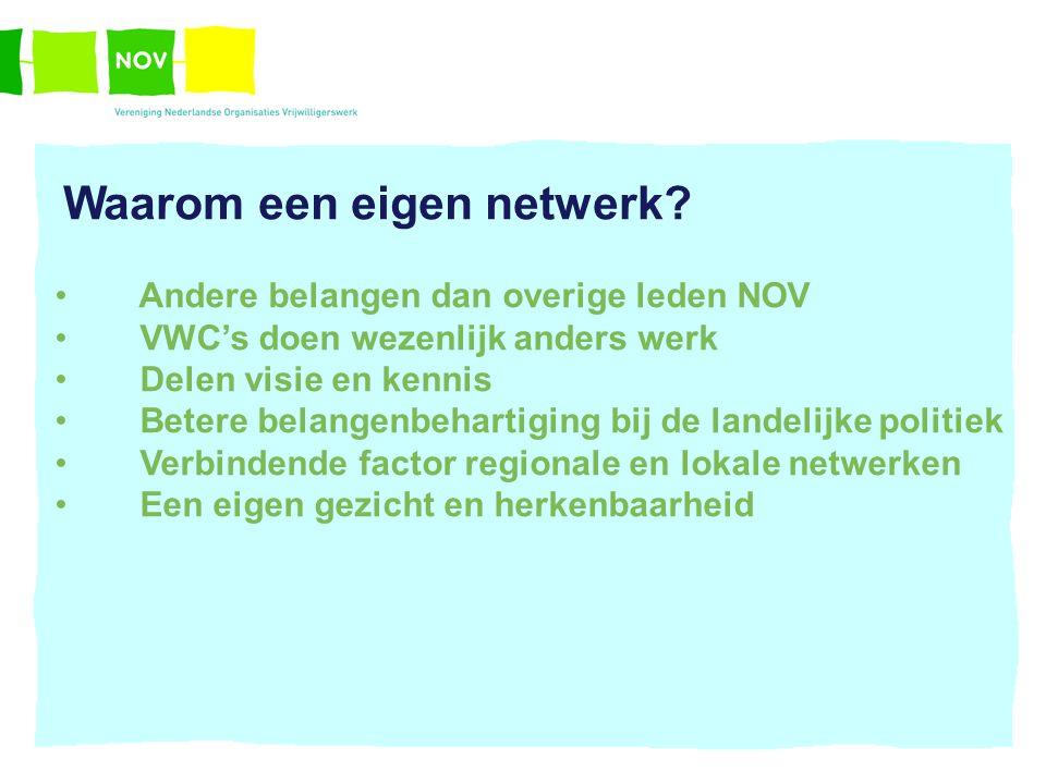Waarom een eigen netwerk? Andere belangen dan overige leden NOV VWC's doen wezenlijk anders werk Delen visie en kennis Betere belangenbehartiging bij