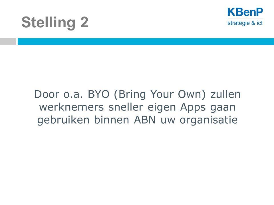 Stelling 2 Door o.a. BYO (Bring Your Own) zullen werknemers sneller eigen Apps gaan gebruiken binnen ABN uw organisatie