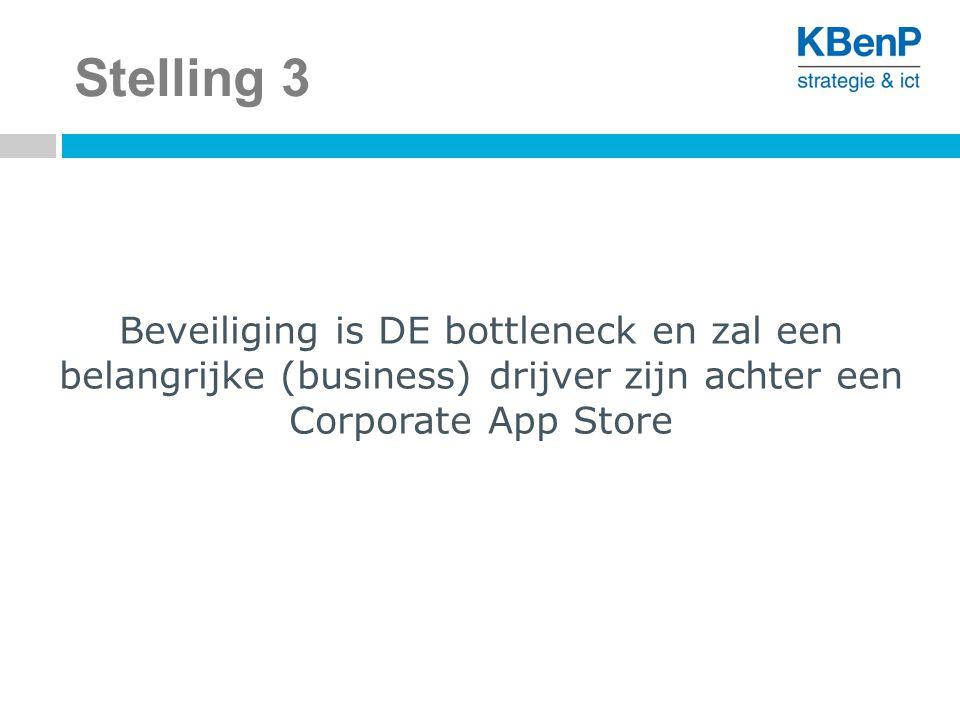 Stelling 3 Beveiliging is DE bottleneck en zal een belangrijke (business) drijver zijn achter een Corporate App Store