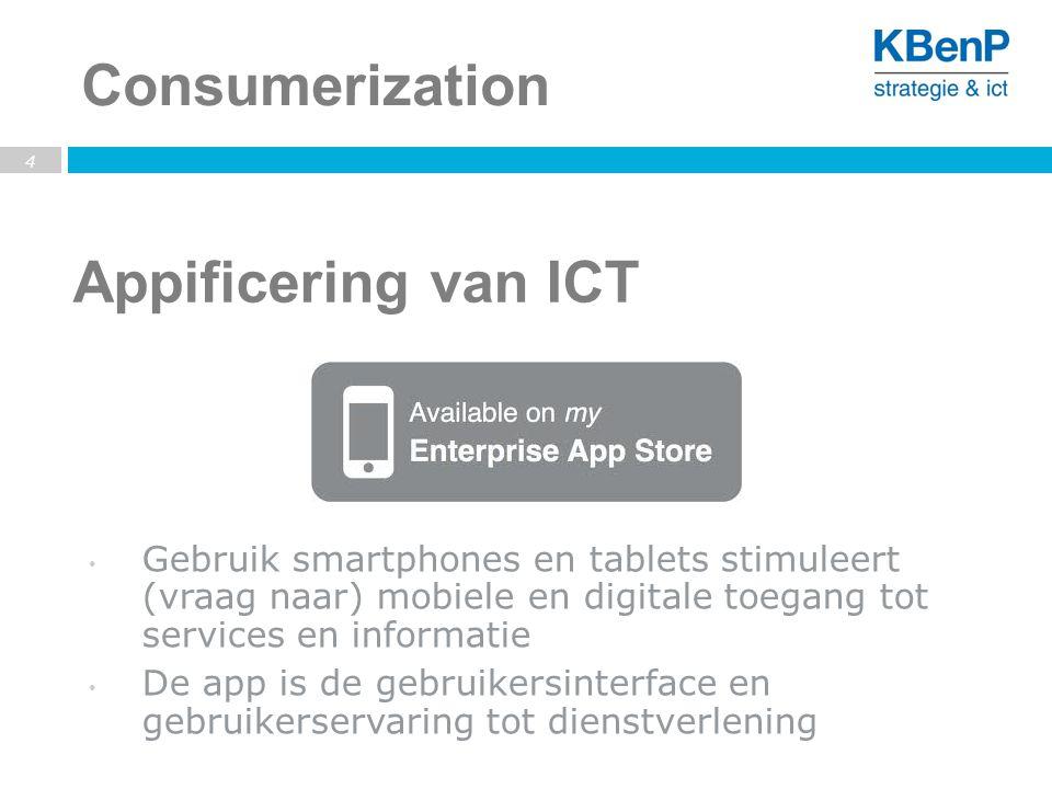 Appificering van ICT 4 Consumerization Gebruik smartphones en tablets stimuleert (vraag naar) mobiele en digitale toegang tot services en informatie De app is de gebruikersinterface en gebruikerservaring tot dienstverlening
