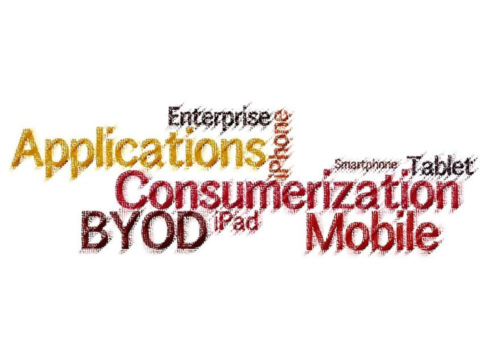 Opties gevisualiseerd Consumerization High Low Beveiligingsrisico's BYOD DESKTOP (HNW) Adapted from Friendly Takeover: The Consumerization of Corporate IT, Booz & Company (2010) Bring Your Own Device (BYOD) Privé mobiele devices Enkel ondersteuning e-mail iOs (Apple), Android, Blackberry en Windows Geen SLA / geen jail-break.