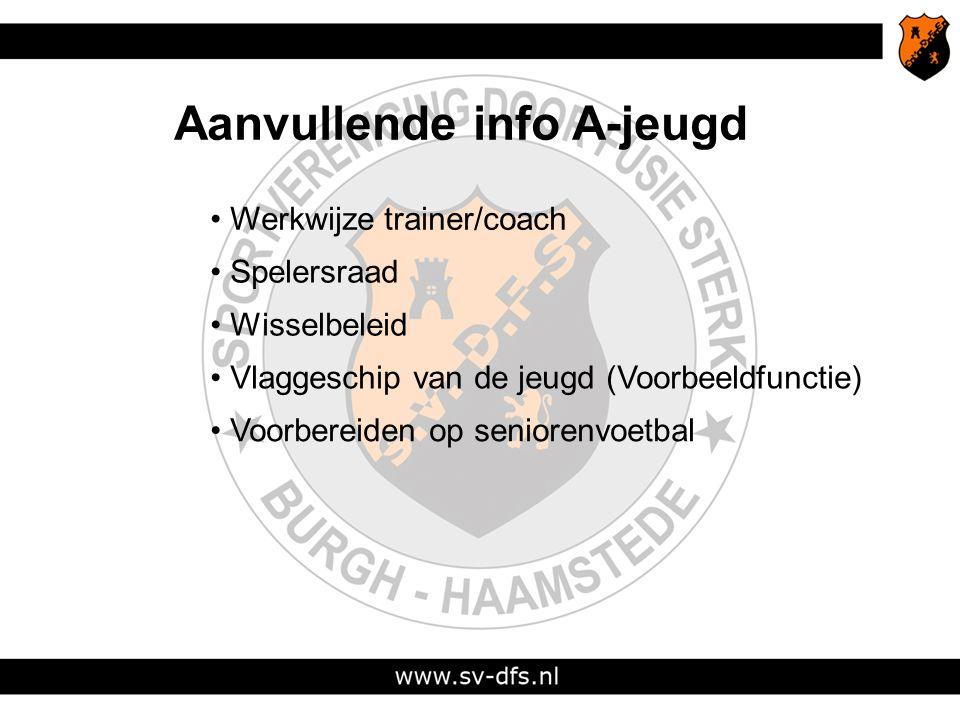 Aanvullende info A-jeugd Werkwijze trainer/coach Spelersraad Wisselbeleid Vlaggeschip van de jeugd (Voorbeeldfunctie) Voorbereiden op seniorenvoetbal