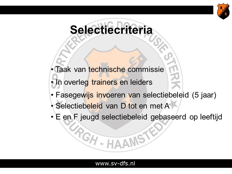 Selectiecriteria Taak van technische commissie In overleg trainers en leiders Fasegewijs invoeren van selectiebeleid (5 jaar) E en F jeugd selectiebeleid gebaseerd op leeftijd Selectiebeleid van D tot en met A