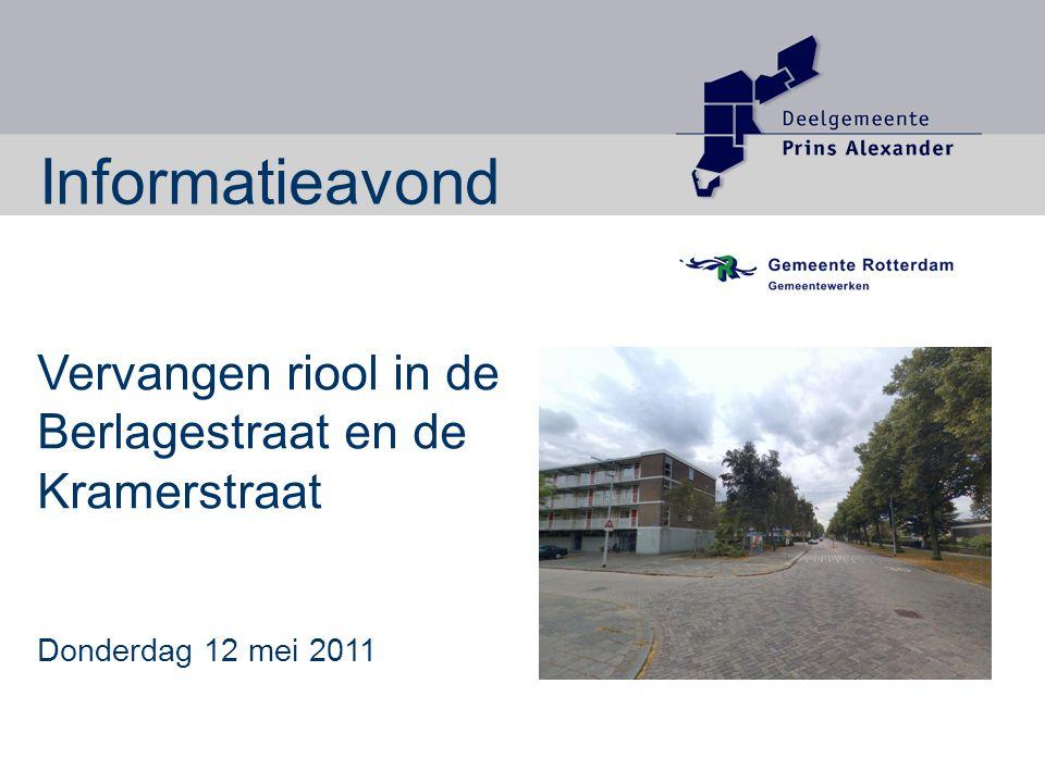 Vervangen riool in de Berlagestraat en de Kramerstraat Donderdag 12 mei 2011 Informatieavond