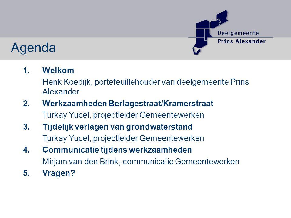 1. Welkom Henk Koedijk, portefeuillehouder van deelgemeente Prins Alexander 2.