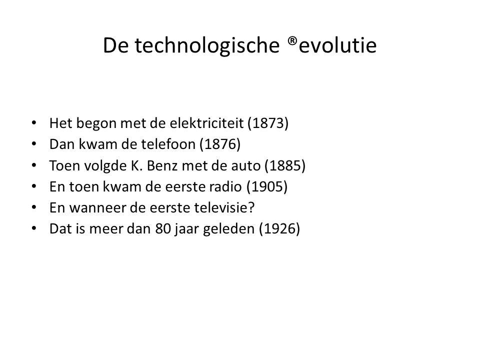 De technologische ®evolutie Na Wereldoorlog II ontstond de tweede golf: – Automatische wasmachine (1946) – Video (1952) – Magnetron (1956) De derde golf: de ICT-revolutie vanaf 1964 – Het Internet (1968) – De Personal Computer (1975) – De GSM (1989)