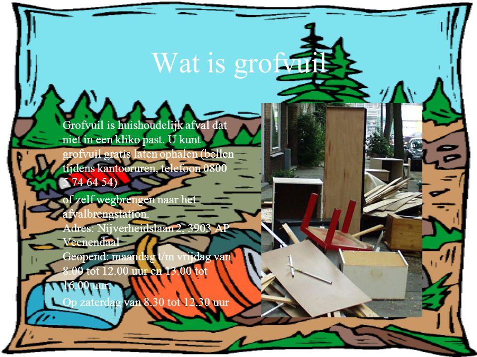Wat is grofvuil Grofvuil is huishoudelijk afval dat niet in een kliko past. U kunt grofvuil gratis laten ophalen (bellen tijdens kantooruren, telefoon