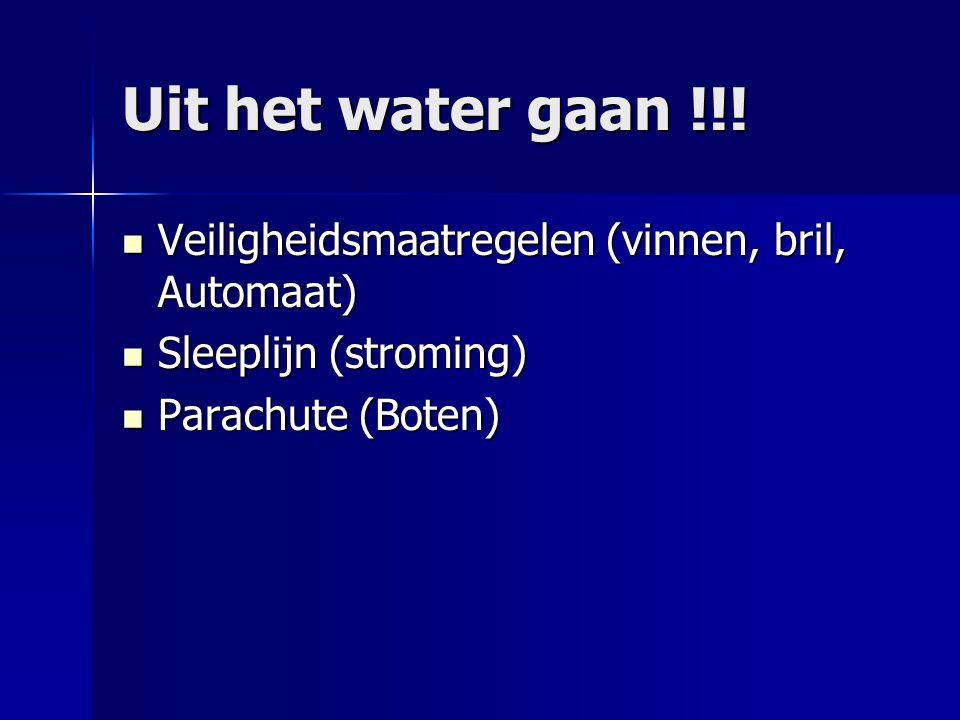 Uit het water gaan !!! Veiligheidsmaatregelen (vinnen, bril, Automaat) Veiligheidsmaatregelen (vinnen, bril, Automaat) Sleeplijn (stroming) Sleeplijn