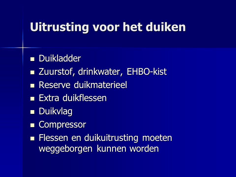 Uitrusting voor het duiken Duikladder Duikladder Zuurstof, drinkwater, EHBO-kist Zuurstof, drinkwater, EHBO-kist Reserve duikmaterieel Reserve duikmat
