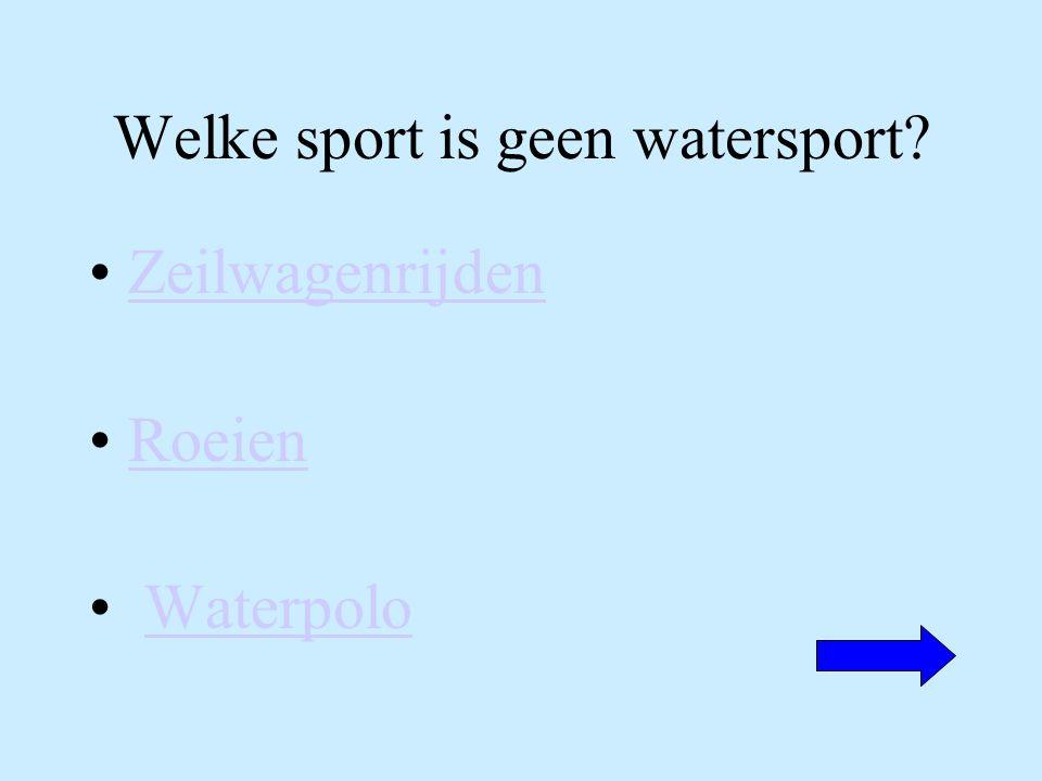 Welke sport is geen watersport? Zeilwagenrijden Roeien Waterpolo