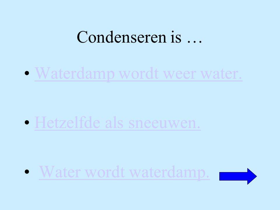 Condenseren is … Waterdamp wordt weer water.Hetzelfde als sneeuwen.