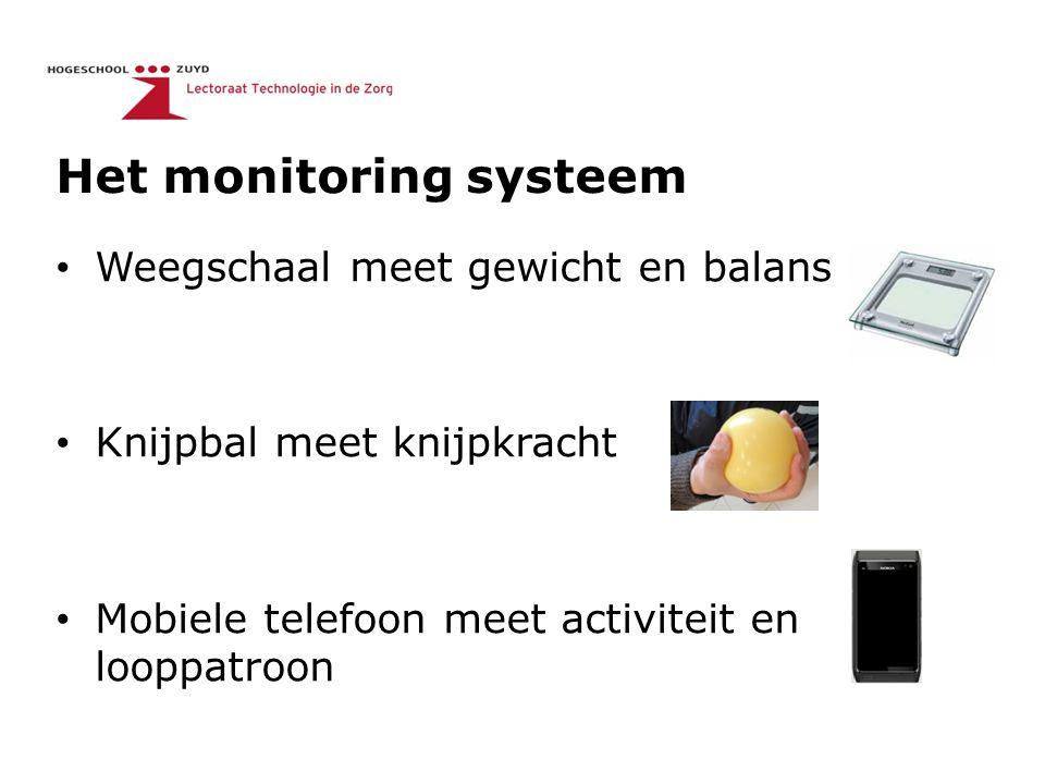 Het monitoring systeem Weegschaal meet gewicht en balans Knijpbal meet knijpkracht Mobiele telefoon meet activiteit en looppatroon