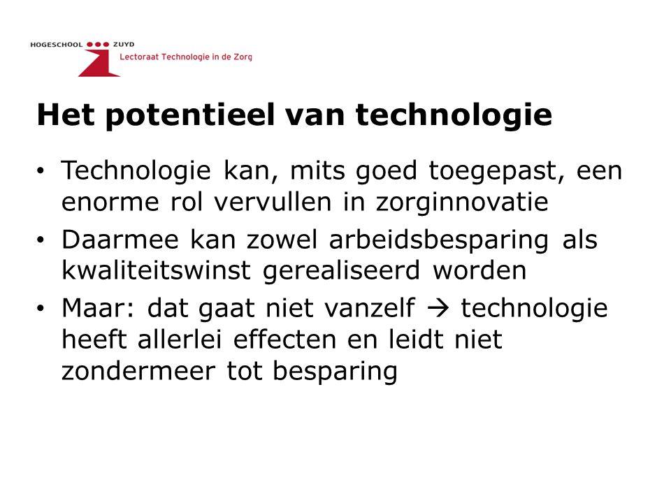 Het potentieel van technologie Technologie kan, mits goed toegepast, een enorme rol vervullen in zorginnovatie Daarmee kan zowel arbeidsbesparing als