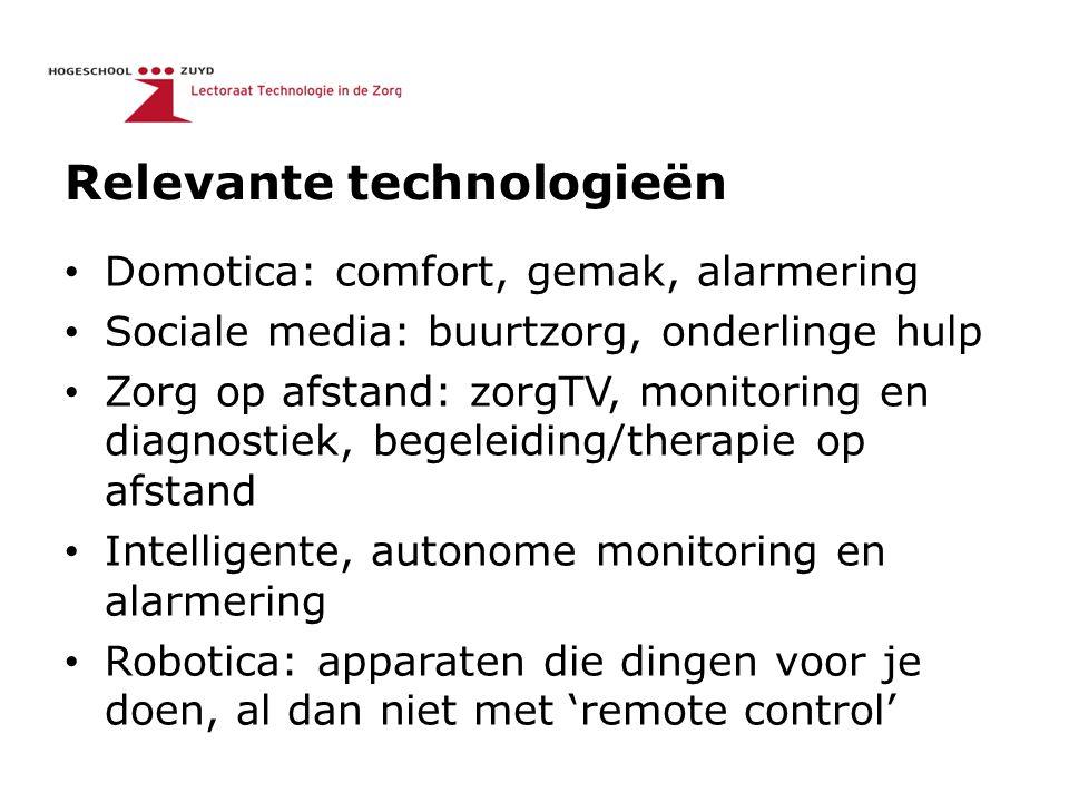 Relevante technologieën Domotica: comfort, gemak, alarmering Sociale media: buurtzorg, onderlinge hulp Zorg op afstand: zorgTV, monitoring en diagnost