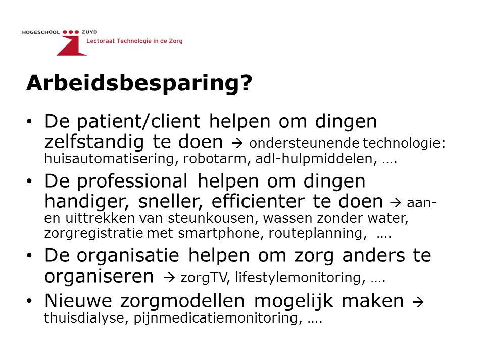 Arbeidsbesparing? De patient/client helpen om dingen zelfstandig te doen  ondersteunende technologie: huisautomatisering, robotarm, adl-hulpmiddelen,