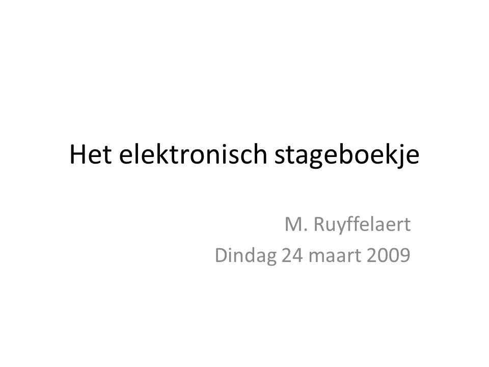 Het elektronisch stageboekje M. Ruyffelaert Dindag 24 maart 2009