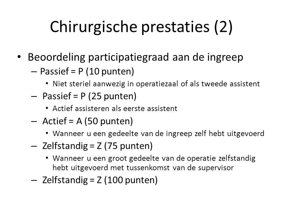 Chirurgische prestaties (2) Beoordeling participatiegraad aan de ingreep – Passief = P (10 punten) Niet steriel aanwezig in operatiezaal of als tweede