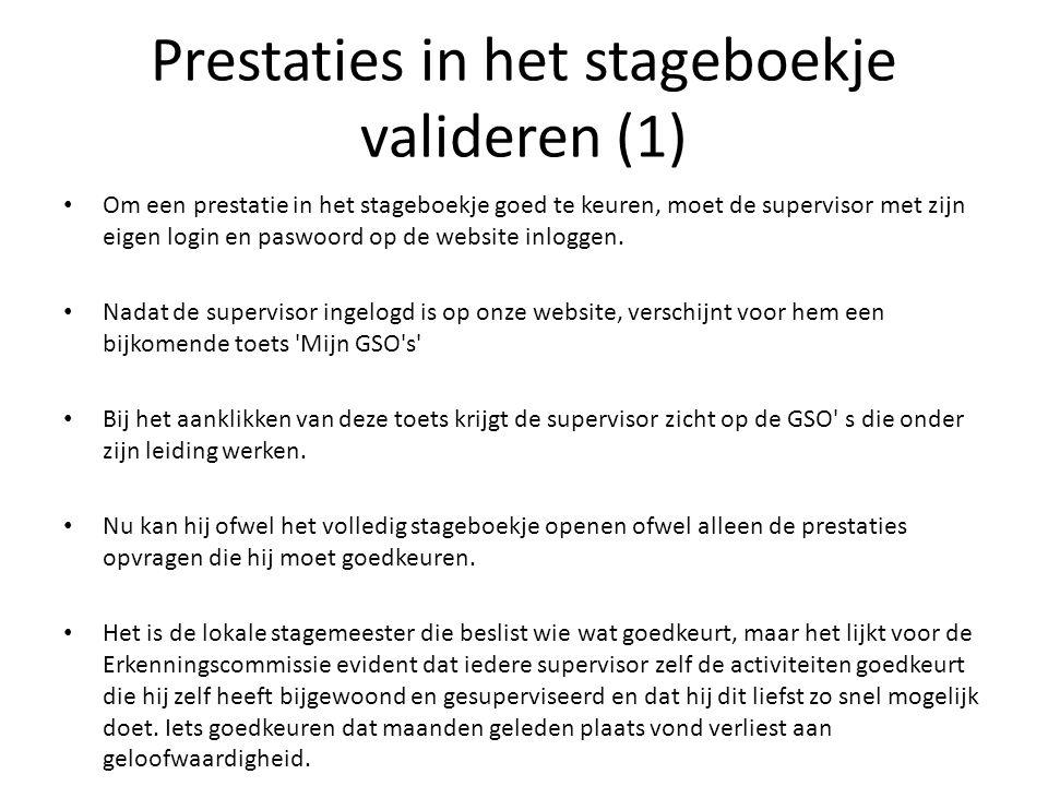 Prestaties in het stageboekje valideren (1) Om een prestatie in het stageboekje goed te keuren, moet de supervisor met zijn eigen login en paswoord op