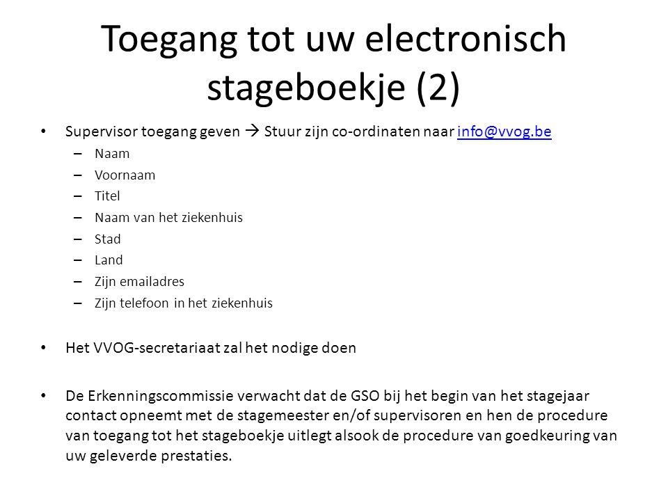 Toegang tot uw electronisch stageboekje (2) Supervisor toegang geven  Stuur zijn co-ordinaten naar info@vvog.beinfo@vvog.be – Naam – Voornaam – Titel