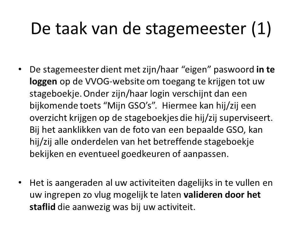 """De taak van de stagemeester (1) De stagemeester dient met zijn/haar """"eigen"""" paswoord in te loggen op de VVOG-website om toegang te krijgen tot uw stag"""