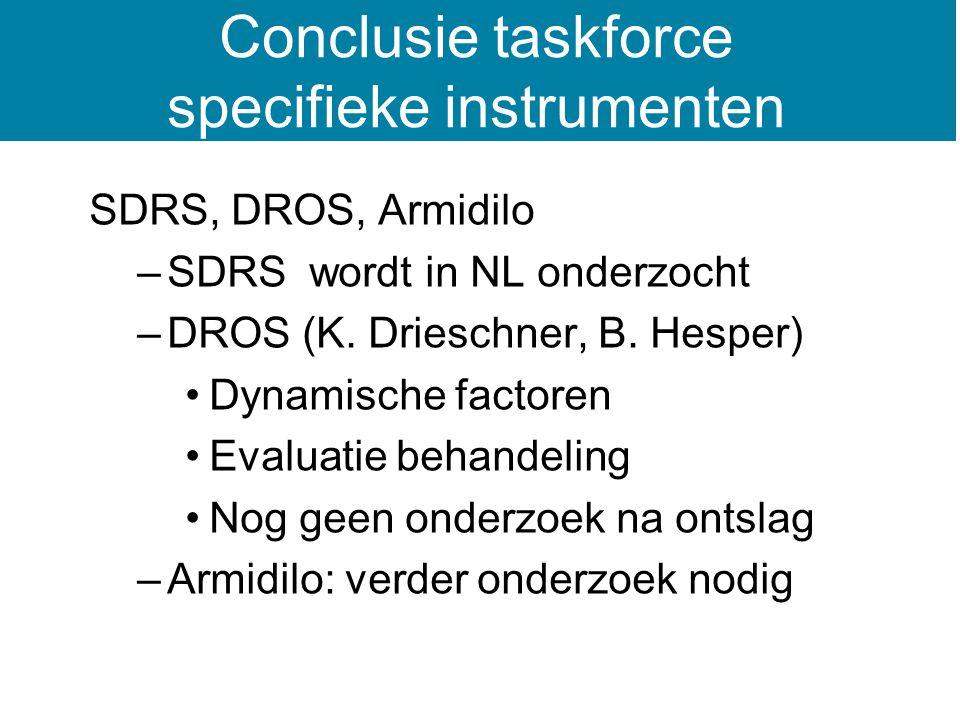 SDRS, DROS, Armidilo –SDRS wordt in NL onderzocht –DROS (K.