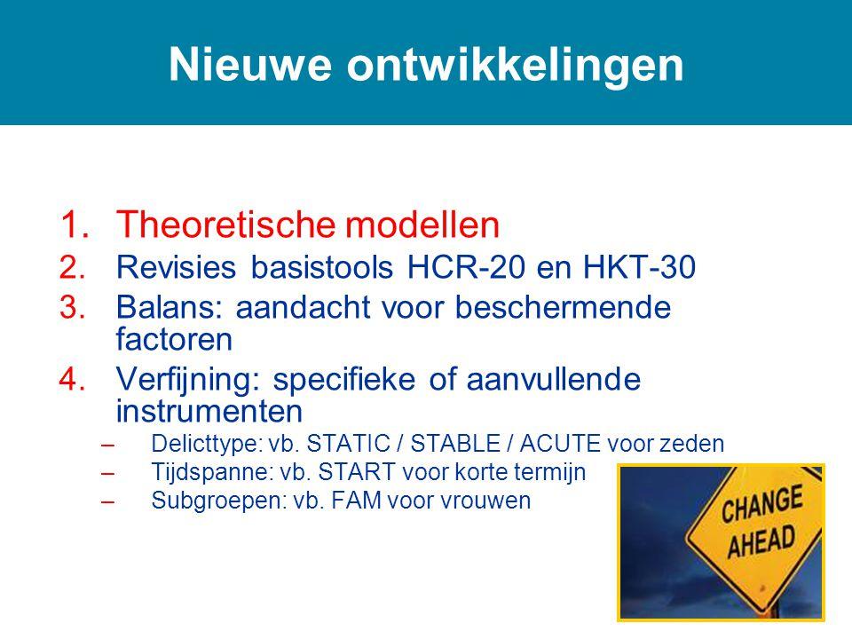 1.Theoretische modellen 2.Revisies basistools HCR-20 en HKT-30 3.Balans: aandacht voor beschermende factoren 4.Verfijning: specifieke of aanvullende instrumenten –Delicttype: vb.
