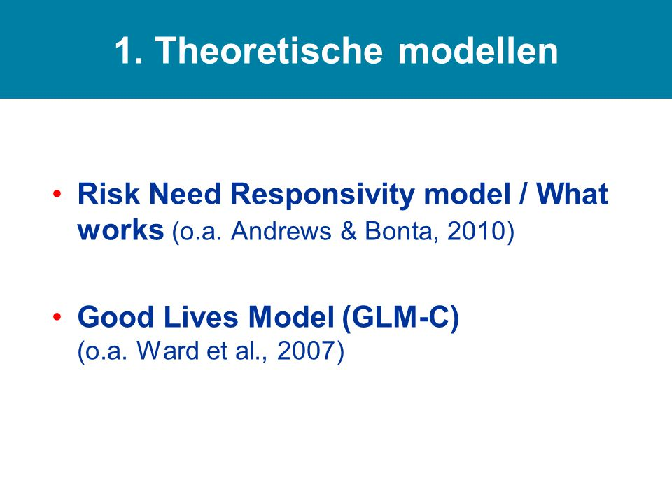 Risk Need Responsivity model / What works (o.a.