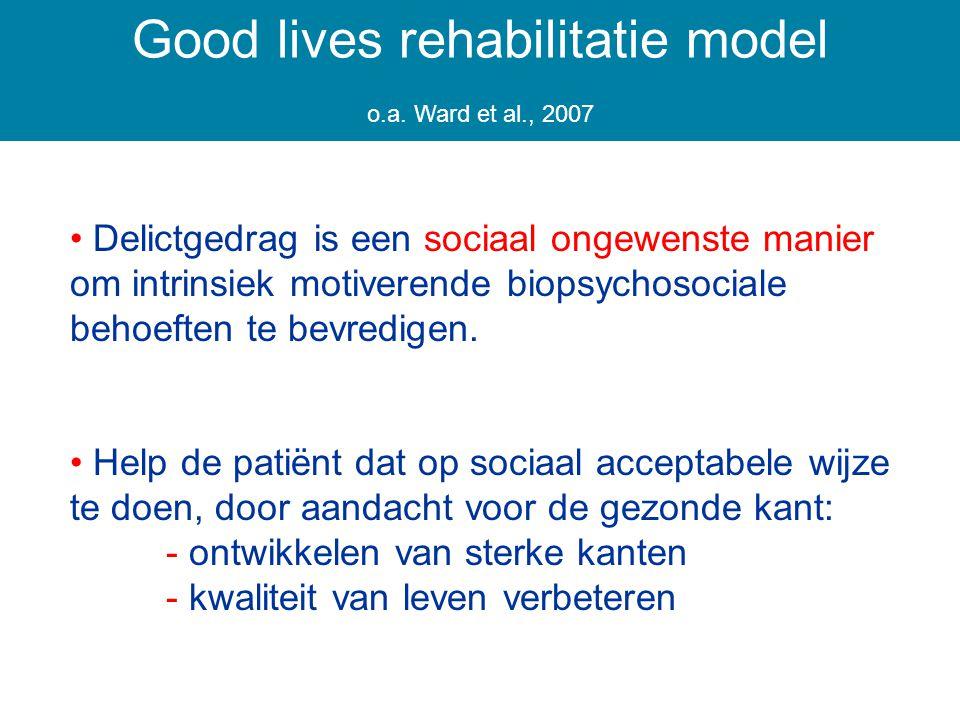 Delictgedrag is een sociaal ongewenste manier om intrinsiek motiverende biopsychosociale behoeften te bevredigen.