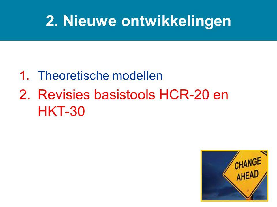 1.Theoretische modellen 2.Revisies basistools HCR-20 en HKT-30 2. Nieuwe ontwikkelingen