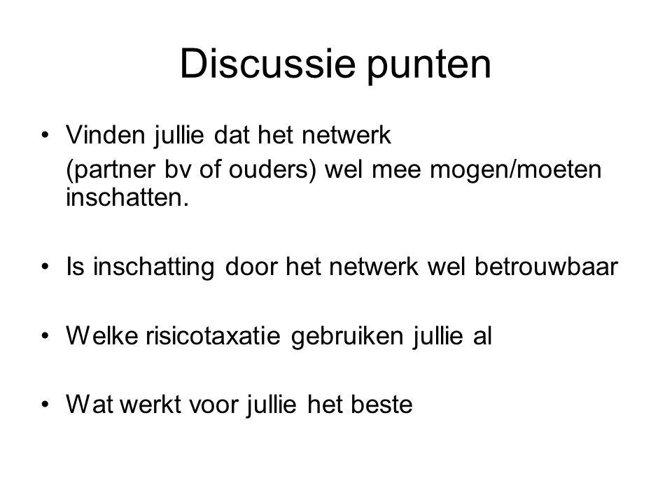 Discussie punten Vinden jullie dat het netwerk (partner bv of ouders) wel mee mogen/moeten inschatten.