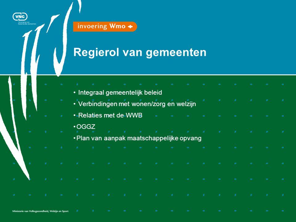 Regierol van gemeenten Integraal gemeentelijk beleid Verbindingen met wonen/zorg en welzijn Relaties met de WWB OGGZ Plan van aanpak maatschappelijke opvang