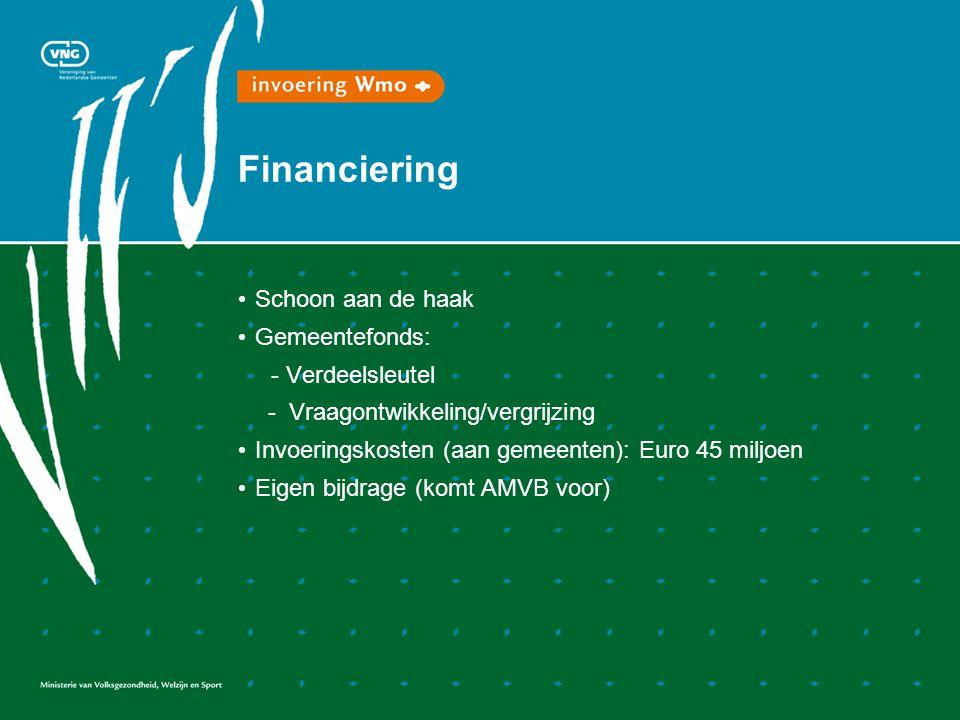 Financiering Schoon aan de haak Gemeentefonds: - Verdeelsleutel - Vraagontwikkeling/vergrijzing Invoeringskosten (aan gemeenten): Euro 45 miljoen Eigen bijdrage (komt AMVB voor)