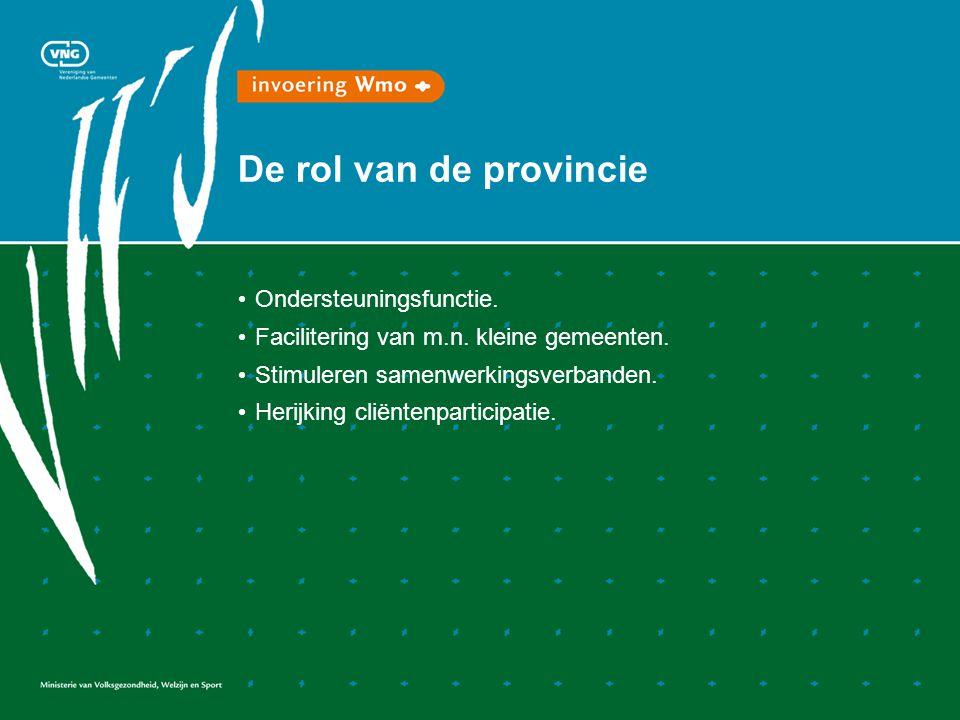 De rol van de provincie Ondersteuningsfunctie. Facilitering van m.n.