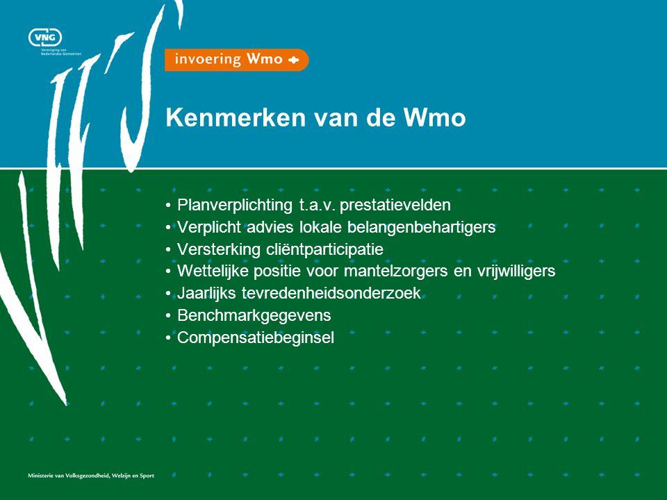 Kenmerken van de Wmo Planverplichting t.a.v.