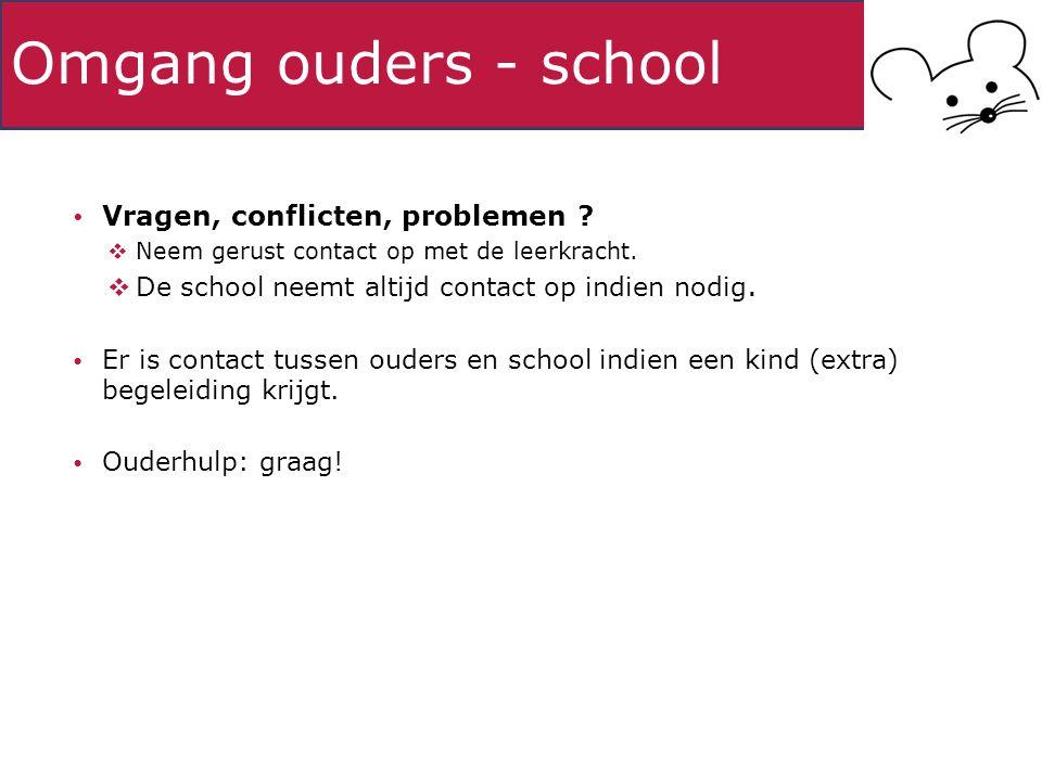 Omgang ouders - school Vragen, conflicten, problemen .